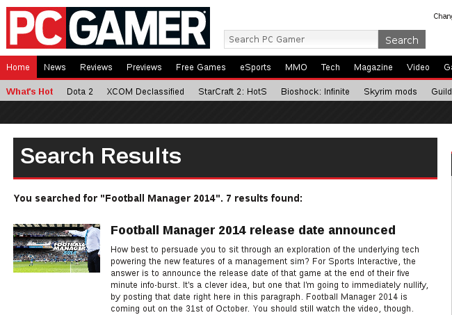 Coverage zum Football Manager 2014 bei PCGamer